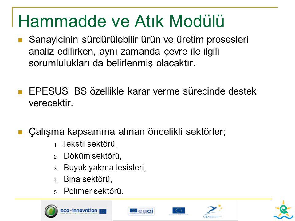 Hammadde ve Atık Modülü Sanayicinin sürdürülebilir ürün ve üretim prosesleri analiz edilirken, aynı zamanda çevre ile ilgili sorumlulukları da belirle