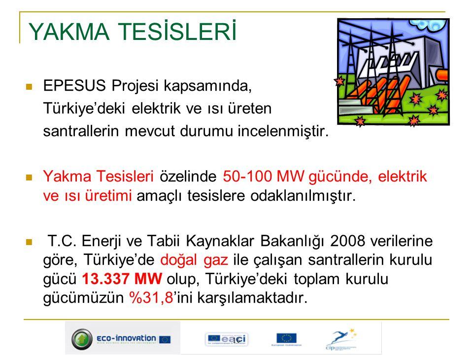 YAKMA TESİSLERİ EPESUS Projesi kapsamında, Türkiye'deki elektrik ve ısı üreten santrallerin mevcut durumu incelenmiştir. Yakma Tesisleri özelinde 50-1