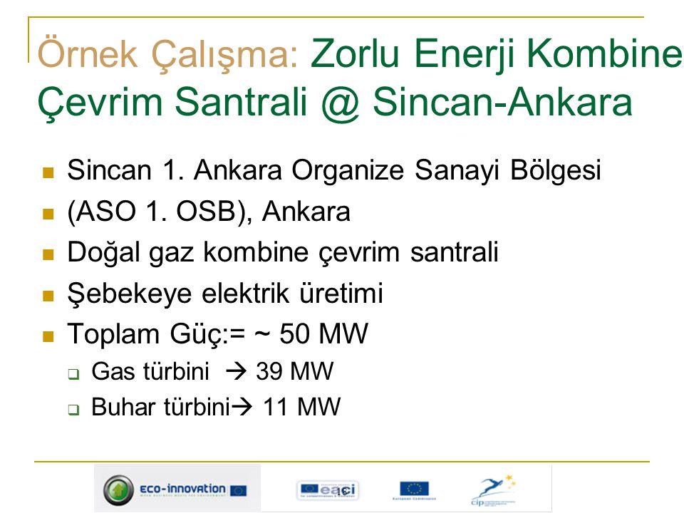 18 Sincan 1. Ankara Organize Sanayi Bölgesi (ASO 1. OSB), Ankara Doğal gaz kombine çevrim santrali Şebekeye elektrik üretimi Toplam Güç:= ~ 50 MW  Ga