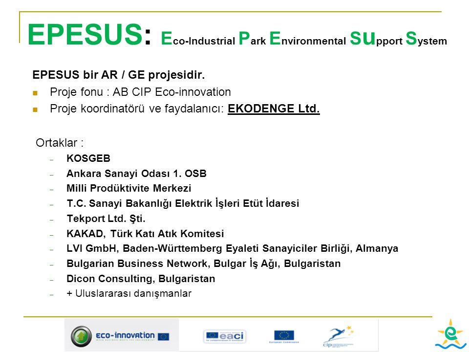 EPESUS: E co-Industrial P ark E nvironmental S u pport S ystem EPESUS bir AR / GE projesidir. Proje fonu : AB CIP Eco-innovation Proje koordinatörü ve