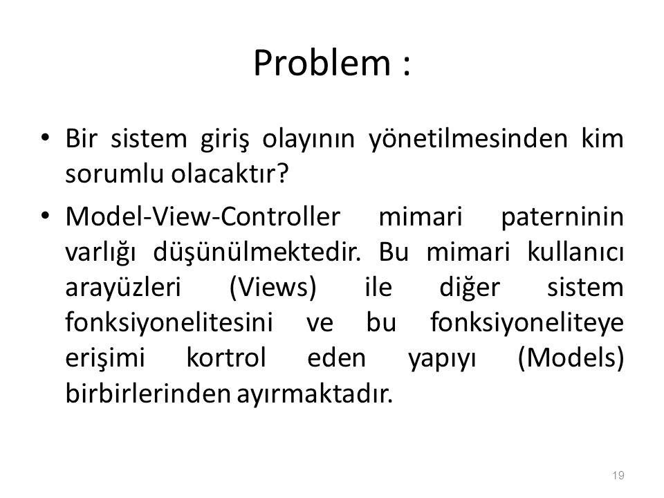 Problem : Bir sistem giriş olayının yönetilmesinden kim sorumlu olacaktır.