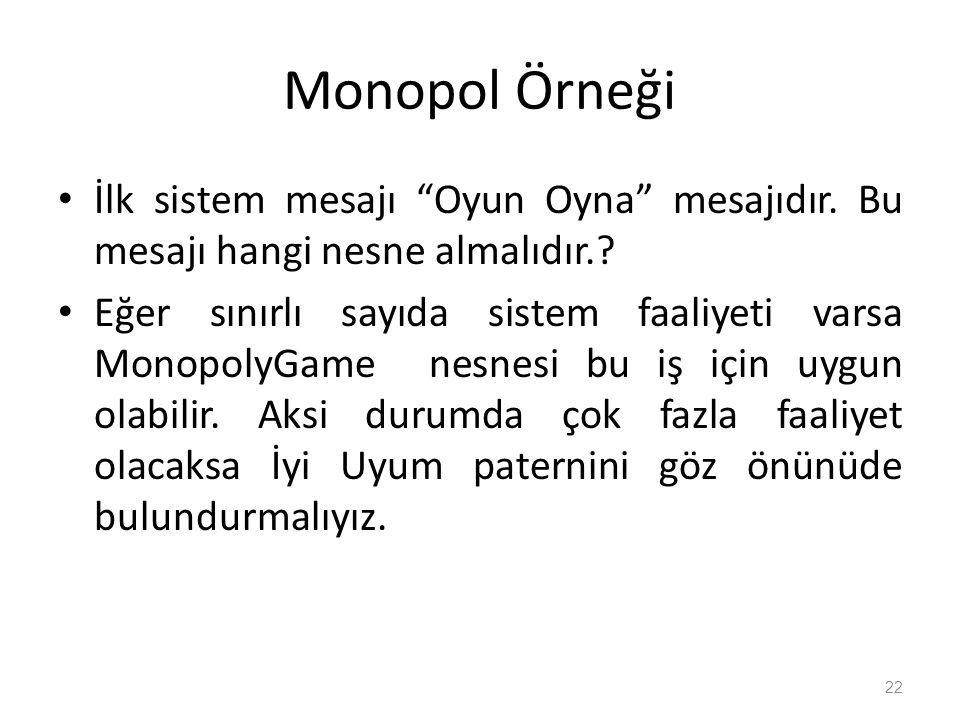 Monopol Örneği İlk sistem mesajı Oyun Oyna mesajıdır.
