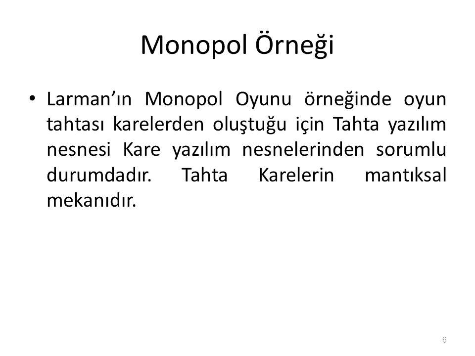 Monopol Örneği Larman'ın Monopol Oyunu örneğinde oyun tahtası karelerden oluştuğu için Tahta yazılım nesnesi Kare yazılım nesnelerinden sorumlu durumdadır.