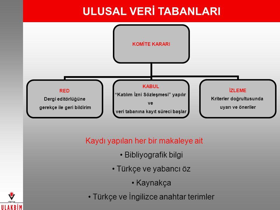 ULUSAL VERİ TABANLARI Kaydı yapılan her bir makaleye ait Bibliyografik bilgi Türkçe ve yabancı öz Kaynakça Türkçe ve İngilizce anahtar terimler RED De