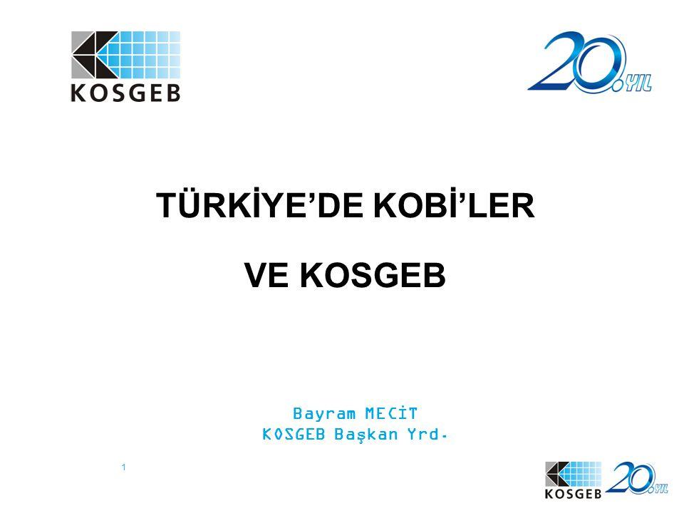 1 TÜRKİYE'DE KOBİ'LER VE KOSGEB Bayram MECİT KOSGEB Başkan Yrd.