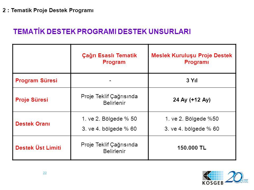 22 TEMATİK DESTEK PROGRAMI DESTEK UNSURLARI Çağrı Esaslı Tematik Program Meslek Kuruluşu Proje Destek Programı Program Süresi -3 Yıl Proje Süresi Proj