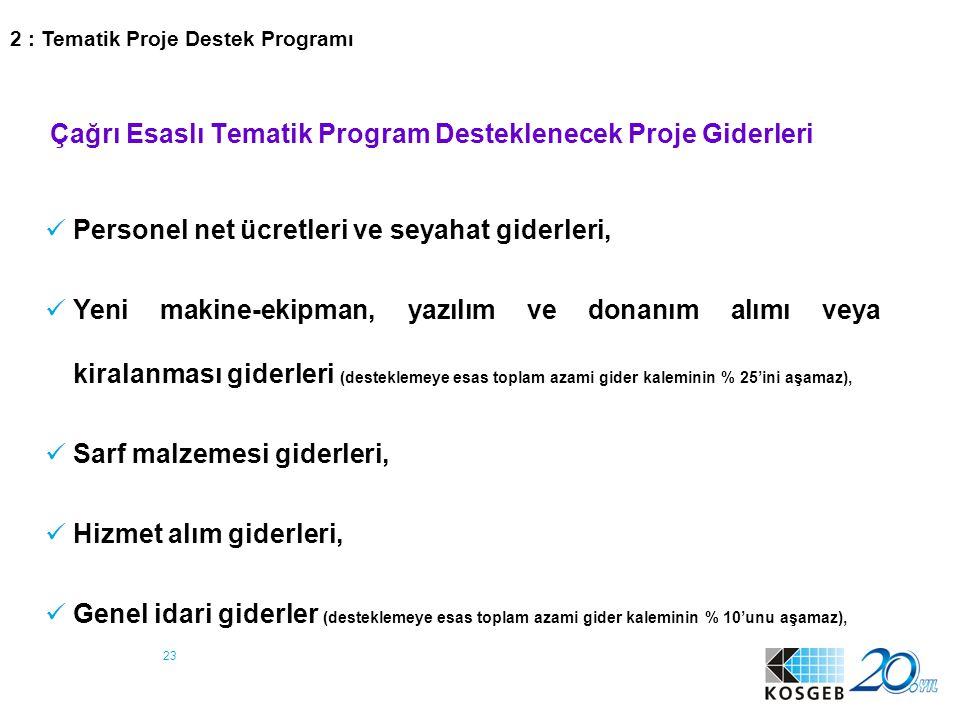 23 Çağrı Esaslı Tematik Program Desteklenecek Proje Giderleri Personel net ücretleri ve seyahat giderleri, Yeni makine-ekipman, yazılım ve donanım alı