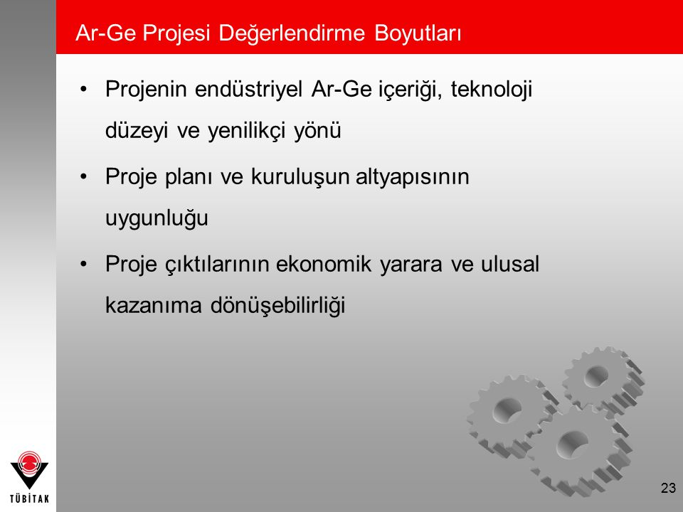 23 Projenin endüstriyel Ar-Ge içeriği, teknoloji düzeyi ve yenilikçi yönü Proje planı ve kuruluşun altyapısının uygunluğu Proje çıktılarının ekonomik