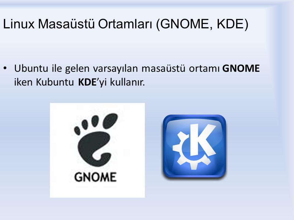 Linux Masaüstü Ortamları (GNOME, KDE) Ubuntu ile gelen varsayılan masaüstü ortamı GNOME iken Kubuntu KDE'yi kullanır.