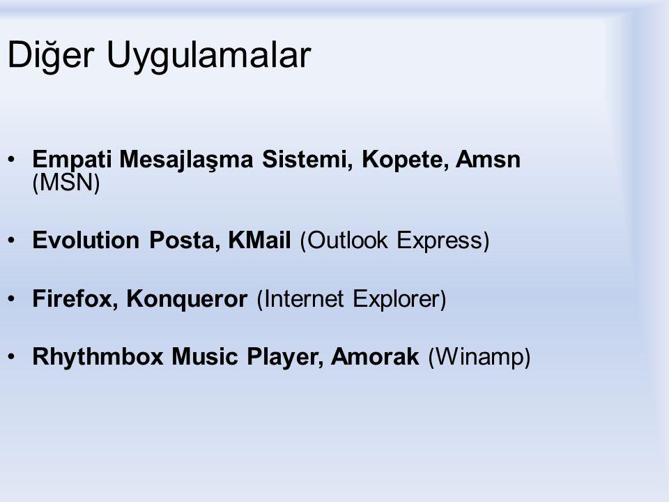 Diğer Uygulamalar Empati Mesajlaşma Sistemi, Kopete, Amsn ( MSN ) Evolution Posta, KMail ( Outlook Express ) Firefox, Konqueror ( Internet Explorer ) Rhythmbox Music Player, Amorak ( Winamp )