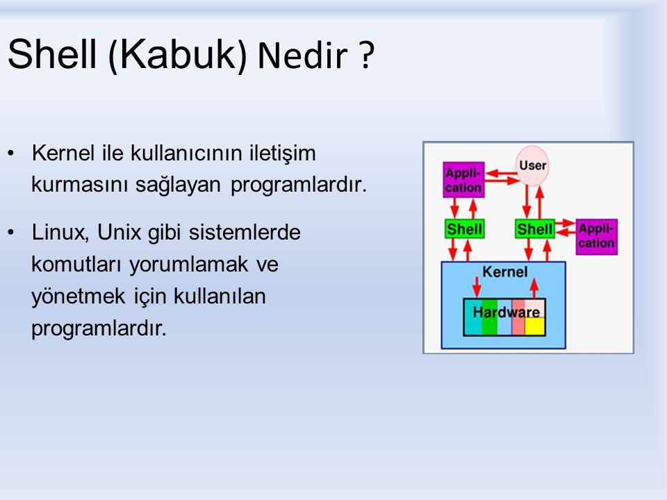 Shell ( Kabuk ) Nedir .Kernel ile kullanıcının iletişim kurmasını sağlayan programlardır.