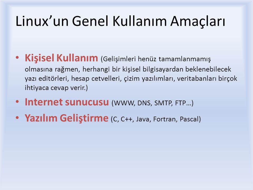 Linux'un Genel Kullanım Amaçları Kişisel Kullanım (Gelişimleri henüz tamamlanmamış olmasına rağmen, herhangi bir kişisel bilgisayardan beklenebilecek yazı editörleri, hesap cetvelleri, çizim yazılımları, veritabanları birçok ihtiyaca cevap verir.) Internet sunucusu (WWW, DNS, SMTP, FTP…) Yazılım Geliştirme (C, C++, Java, Fortran, Pascal)