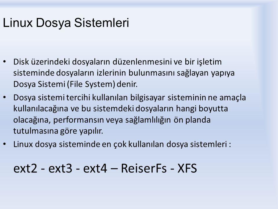 Linux Dosya Sistemleri ext2 : En çok tercih edilen kararlı dosya sistemlerindendir.