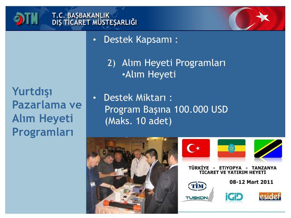 Yurtdışı Pazarlama ve Alım Heyeti Programları Destek Kapsamı : 2) Alım Heyeti Programları Alım Heyeti Destek Miktarı : Program Başına 100.000 USD (Maks.