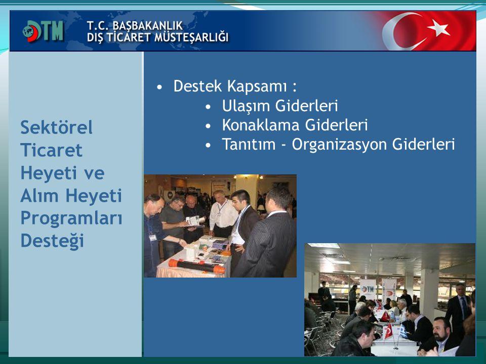 Sektörel Ticaret Heyeti ve Alım Heyeti Programları Desteği Destek Kapsamı : Ulaşım Giderleri Konaklama Giderleri Tanıtım - Organizasyon Giderleri