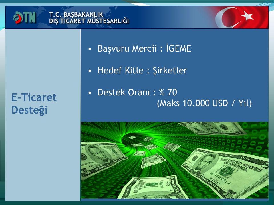 E-Ticaret Desteği Başvuru Mercii : İGEME Hedef Kitle : Şirketler Destek Oranı : % 70 (Maks 10.000 USD / Yıl)