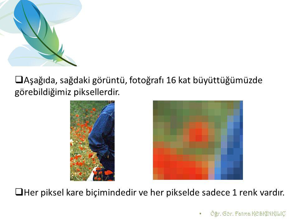 Aşağıda, sağdaki görüntü, fotoğrafı 16 kat büyüttüğümüzde görebildiğimiz piksellerdir.  Her piksel kare biçimindedir ve her pikselde sadece 1 renk