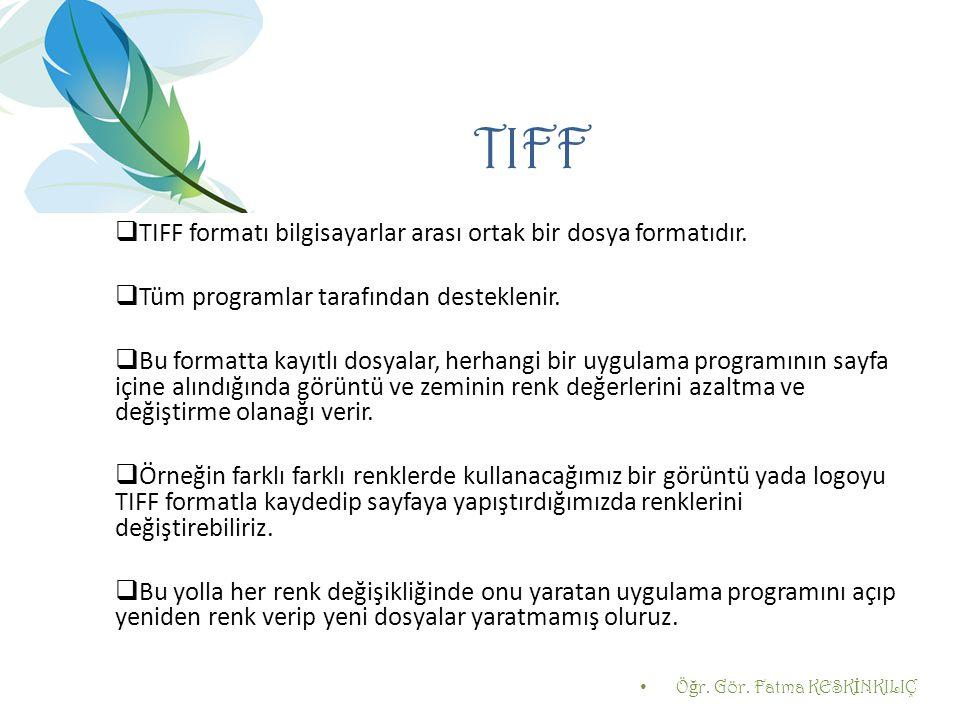 TIFF  TIFF formatı bilgisayarlar arası ortak bir dosya formatıdır.  Tüm programlar tarafından desteklenir.  Bu formatta kayıtlı dosyalar, herhangi