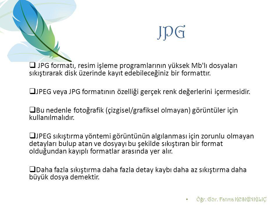 JPG  JPG formatı, resim işleme programlarının yüksek Mb'lı dosyaları sıkıştırarak disk üzerinde kayıt edebileceğiniz bir formattır.  JPEG veya JPG f