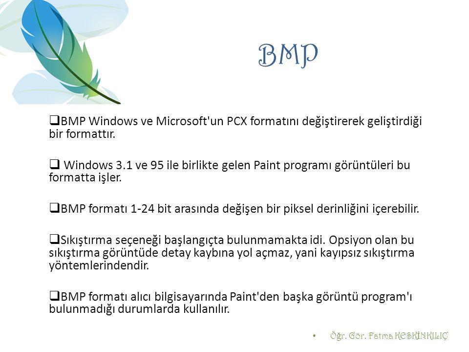 BMP  BMP Windows ve Microsoft'un PCX formatını değiştirerek geliştirdiği bir formattır.  Windows 3.1 ve 95 ile birlikte gelen Paint programı görüntü