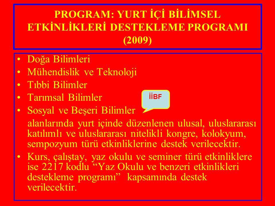 PROGRAM: YURT İÇİ BİLİMSEL ETKİNLİKLERİ DESTEKLEME PROGRAMI (2009) Doğa Bilimleri Mühendislik ve Teknoloji Tıbbi Bilimler Tarımsal Bilimler Sosyal ve