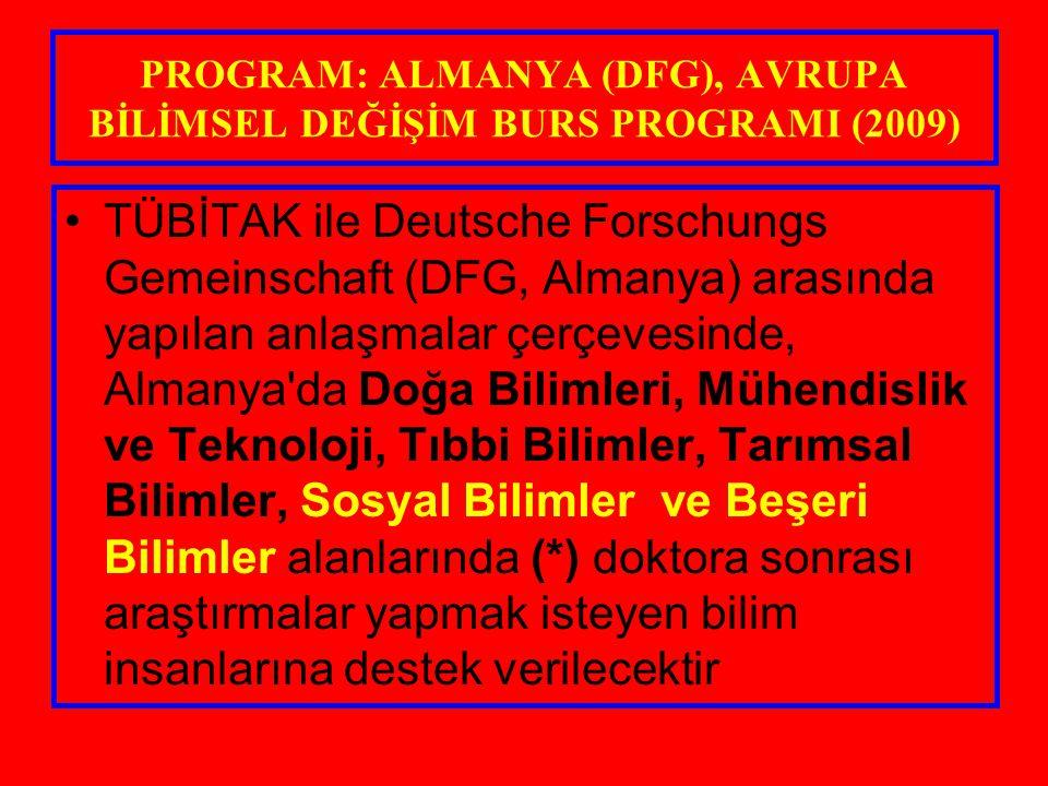 PROGRAM: ALMANYA (DFG), AVRUPA BİLİMSEL DEĞİŞİM BURS PROGRAMI (2009) TÜBİTAK ile Deutsche Forschungs Gemeinschaft (DFG, Almanya) arasında yapılan anla