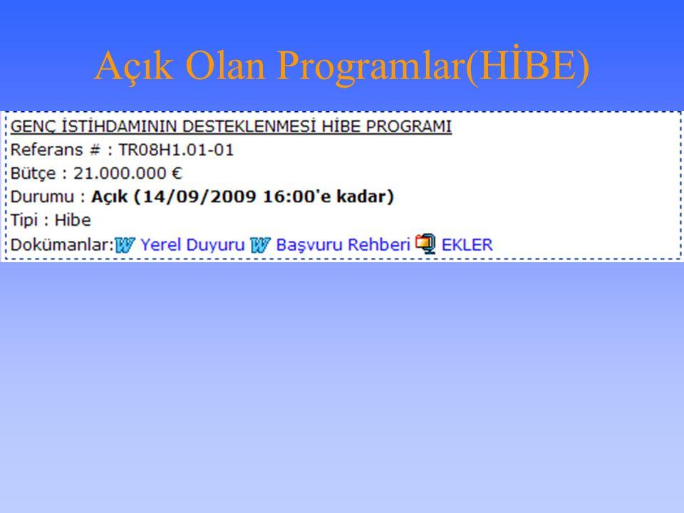 Açık Olan Programlar(Hizmet Alımı)