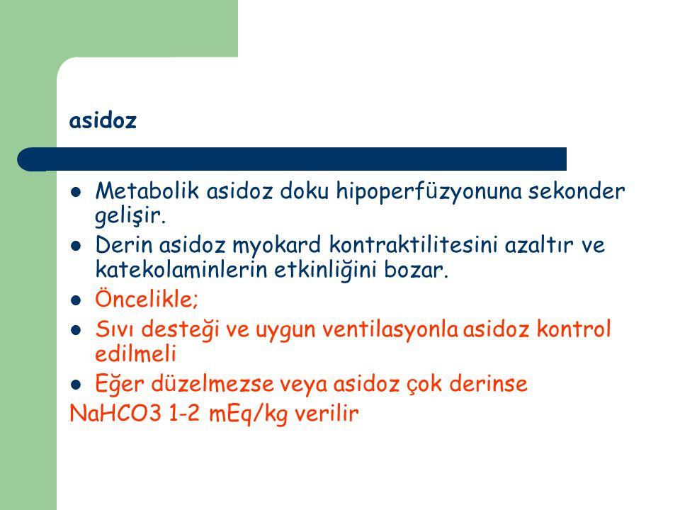 asidoz Metabolik asidoz doku hipoperf ü zyonuna sekonder gelişir.