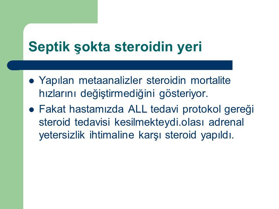Septik şokta steroidin yeri Yapılan metaanalizler steroidin mortalite hızlarını değiştirmediğini gösteriyor.