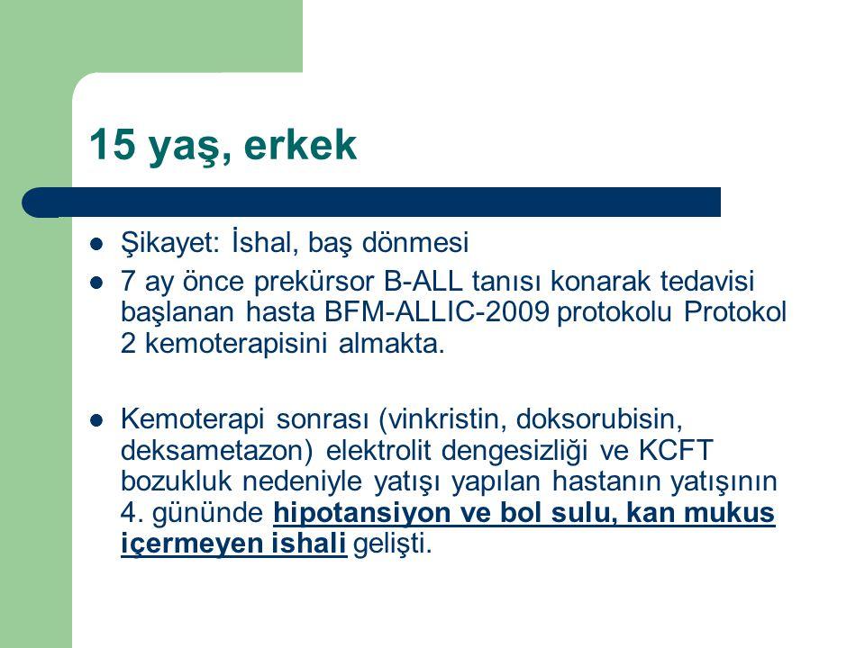 15 yaş, erkek Şikayet: İshal, baş dönmesi 7 ay önce prekürsor B-ALL tanısı konarak tedavisi başlanan hasta BFM-ALLIC-2009 protokolu Protokol 2 kemoterapisini almakta.