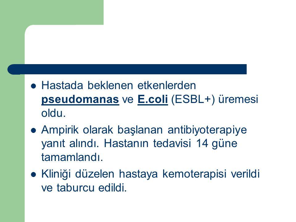 Hastada beklenen etkenlerden pseudomanas ve E.coli (ESBL+) üremesi oldu.