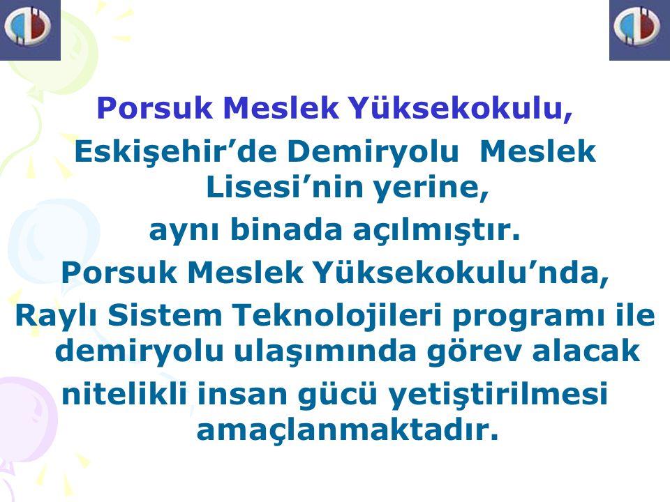 Porsuk Meslek Yüksekokulu, Eskişehir'de Demiryolu Meslek Lisesi'nin yerine, aynı binada açılmıştır. Porsuk Meslek Yüksekokulu'nda, Raylı Sistem Teknol