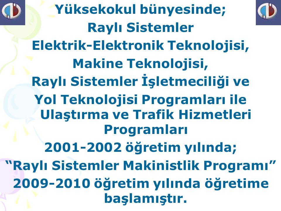 Yüksekokul bünyesinde; Raylı Sistemler Elektrik-Elektronik Teknolojisi, Makine Teknolojisi, Raylı Sistemler İşletmeciliği ve Yol Teknolojisi Programları ile Ulaştırma ve Trafik Hizmetleri Programları 2001-2002 öğretim yılında; Raylı Sistemler Makinistlik Programı 2009-2010 öğretim yılında öğretime başlamıştır.