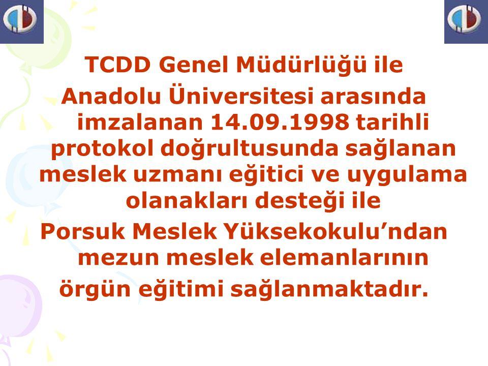 TCDD Genel Müdürlüğü ile Anadolu Üniversitesi arasında imzalanan 14.09.1998 tarihli protokol doğrultusunda sağlanan meslek uzmanı eğitici ve uygulama olanakları desteği ile Porsuk Meslek Yüksekokulu'ndan mezun meslek elemanlarının örgün eğitimi sağlanmaktadır.