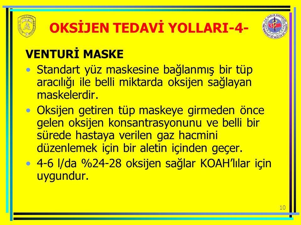 10 VENTURİ MASKE Standart yüz maskesine bağlanmış bir tüp aracılığı ile belli miktarda oksijen sağlayan maskelerdir.
