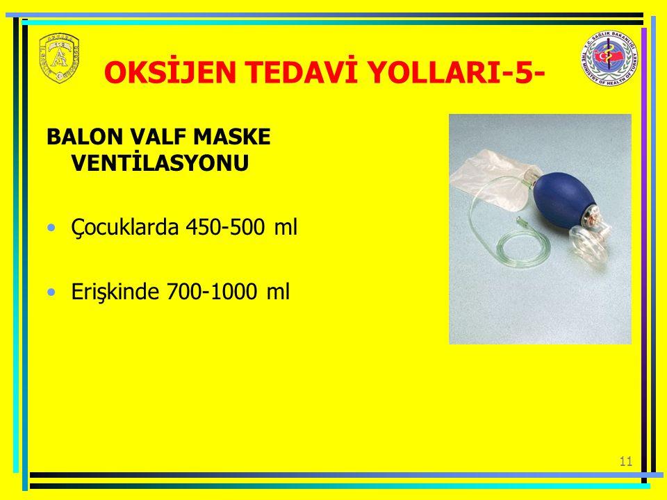 11 OKSİJEN TEDAVİ YOLLARI-5- BALON VALF MASKE VENTİLASYONU Çocuklarda 450-500 ml Erişkinde 700-1000 ml