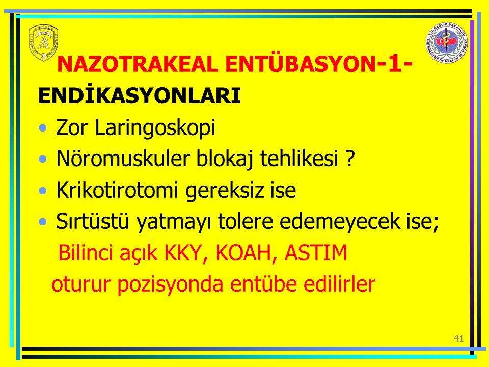 41 NAZOTRAKEAL ENTÜBASYON -1- ENDİKASYONLARI Zor Laringoskopi Nöromuskuler blokaj tehlikesi .