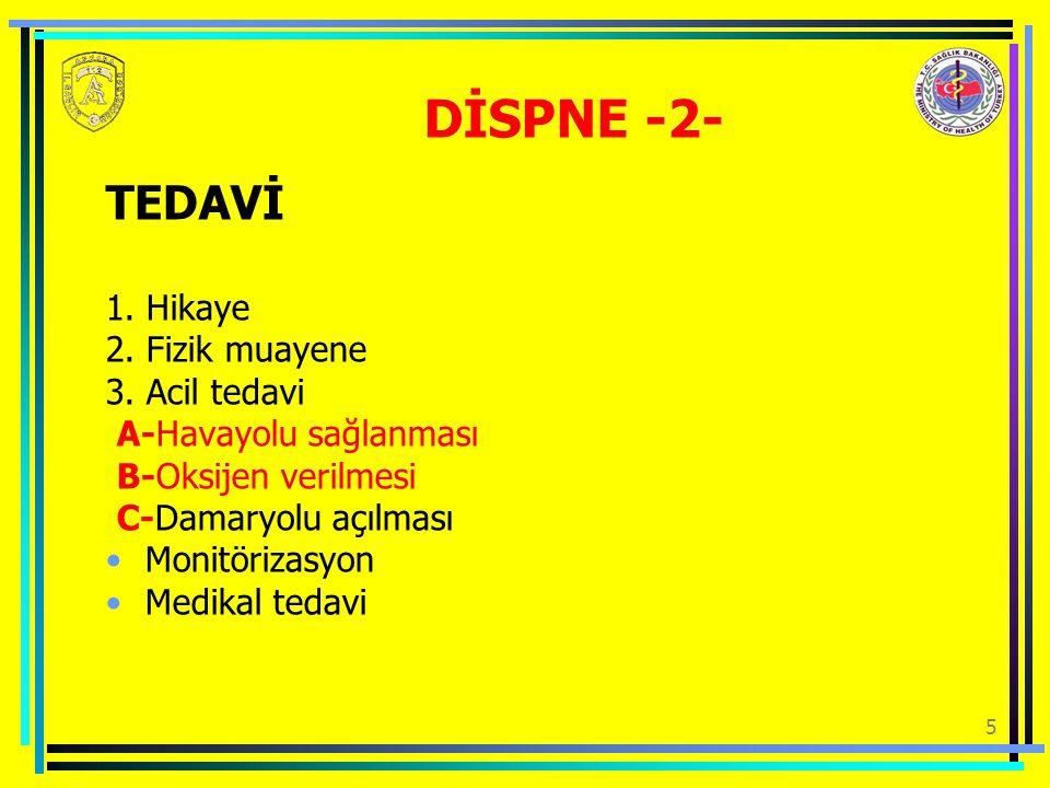 5 DİSPNE -2- TEDAVİ 1.Hikaye 2. Fizik muayene 3.