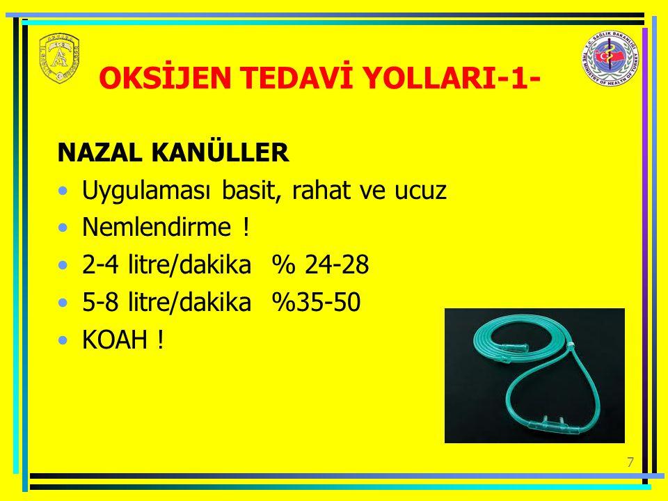 7 OKSİJEN TEDAVİ YOLLARI-1- NAZAL KANÜLLER Uygulaması basit, rahat ve ucuz Nemlendirme .