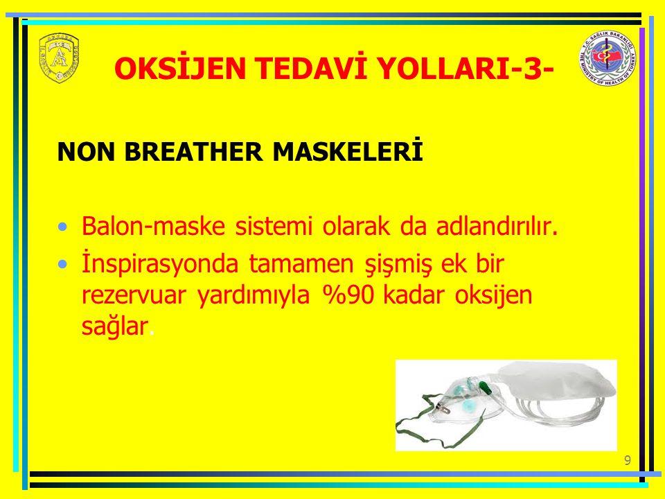9 NON BREATHER MASKELERİ Balon-maske sistemi olarak da adlandırılır.
