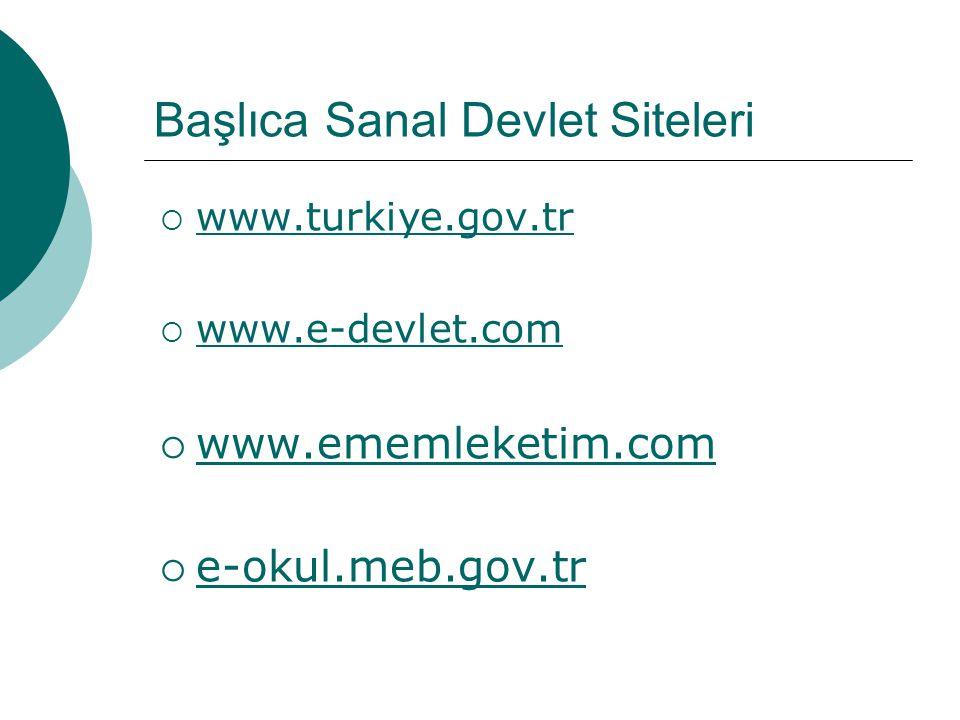 Başlıca Sanal Devlet Siteleri  www.turkiye.gov.tr www.turkiye.gov.tr  www.e-devlet.com www.e-devlet.com  www.ememleketim.com www.ememleketim.com 