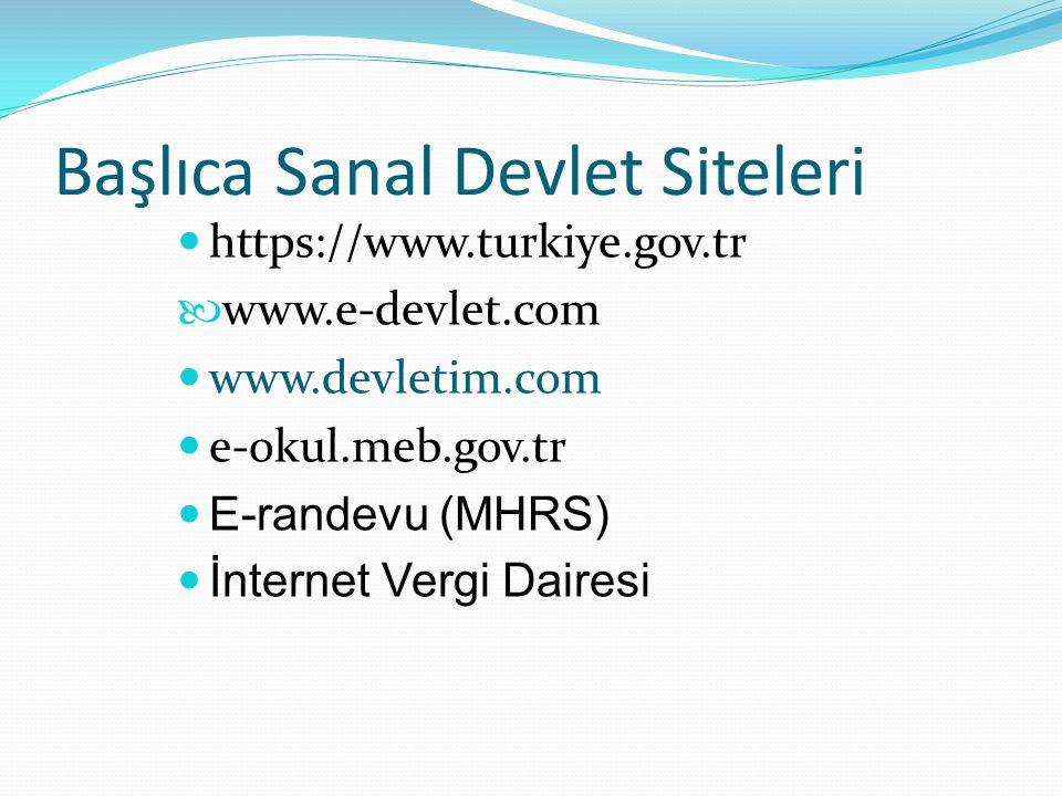 Başlıca Sanal Devlet Siteleri https://www.turkiye.gov.tr www.e-devlet.com www.devletim.com e-okul.meb.gov.tr E-randevu (MHRS) İnternet Vergi Dairesi