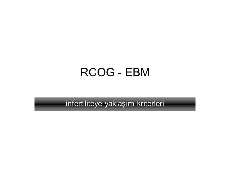 RCOG - EBM infertiliteye yaklaşım kriterleri
