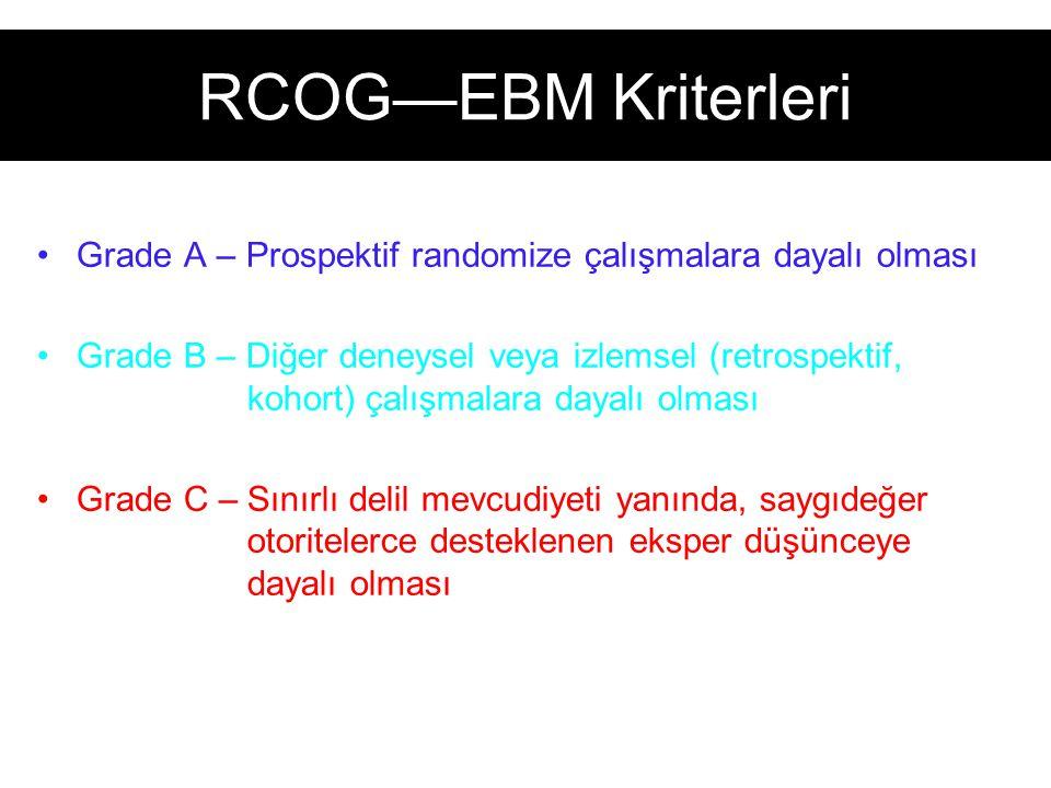 RCOG—EBM Kriterleri Grade A – Prospektif randomize çalışmalara dayalı olması Grade B – Diğer deneysel veya izlemsel (retrospektif, kohort) çalışmalara