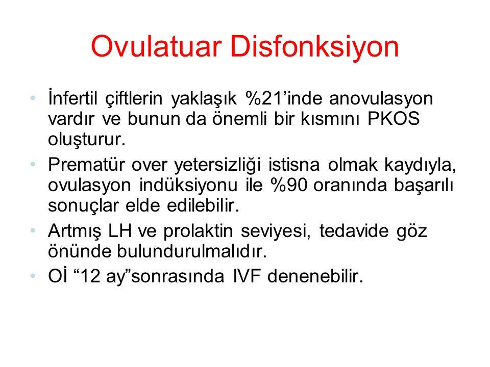 Ovulatuar Disfonksiyon İnfertil çiftlerin yaklaşık %21'inde anovulasyon vardır ve bunun da önemli bir kısmını PKOS oluşturur. Prematür over yetersizli