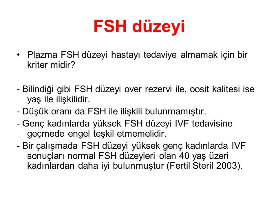 FSH düzeyi Plazma FSH düzeyi hastayı tedaviye almamak için bir kriter midir? - Bilindiği gibi FSH düzeyi over rezervi ile, oosit kalitesi ise yaş ile