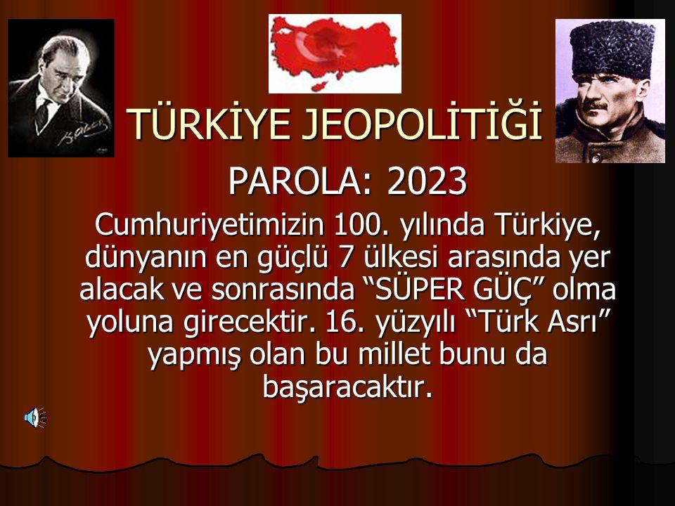 """TÜRKİYE JEOPOLİTİĞİ PAROLA: 2023 Cumhuriyetimizin 100. yılında Türkiye, dünyanın en güçlü 7 ülkesi arasında yer alacak ve sonrasında """"SÜPER GÜÇ"""" olma"""