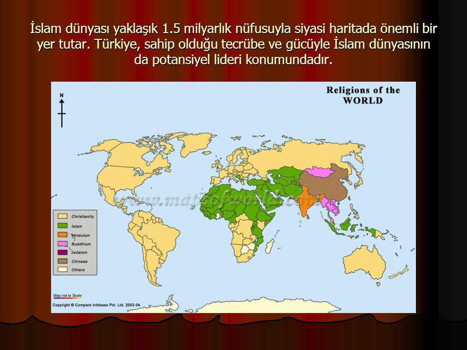 İslam dünyası yaklaşık 1.5 milyarlık nüfusuyla siyasi haritada önemli bir yer tutar. Türkiye, sahip olduğu tecrübe ve gücüyle İslam dünyasının da pota