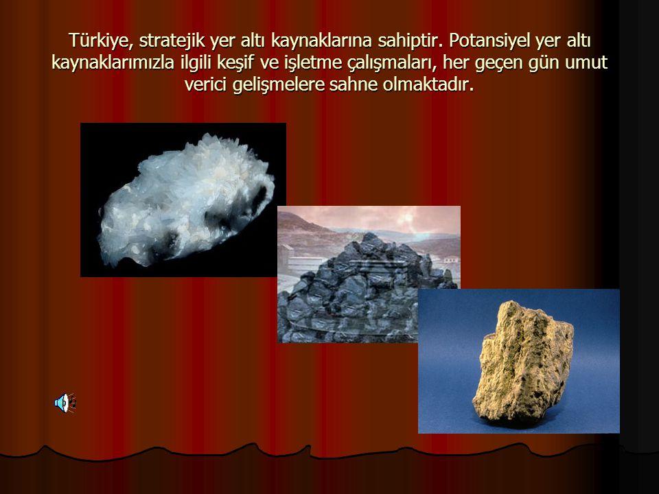 Türkiye, stratejik yer altı kaynaklarına sahiptir. Potansiyel yer altı kaynaklarımızla ilgili keşif ve işletme çalışmaları, her geçen gün umut verici