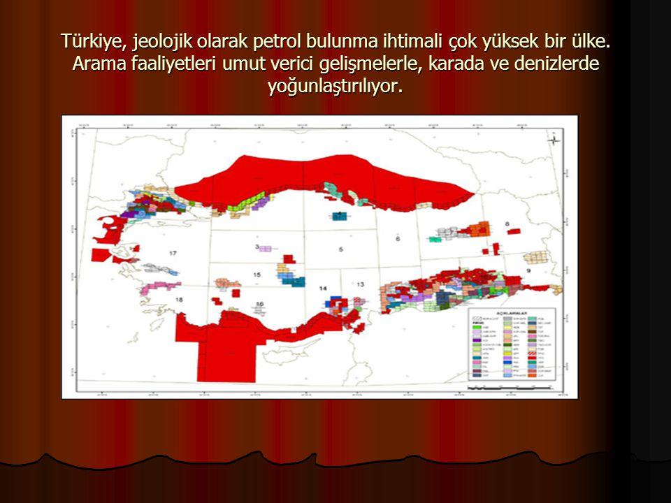 Türkiye, jeolojik olarak petrol bulunma ihtimali çok yüksek bir ülke. Arama faaliyetleri umut verici gelişmelerle, karada ve denizlerde yoğunlaştırılı
